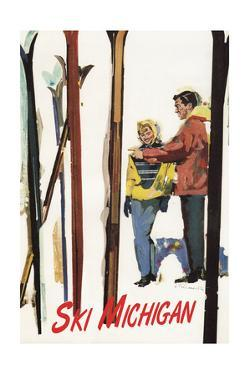 Ski Michigan - Couple by Skis in the Snow by Lantern Press