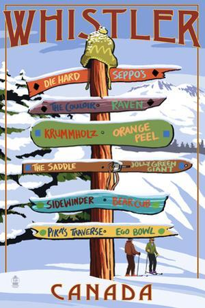Ski Runs Signpost - Whistler, Canada by Lantern Press