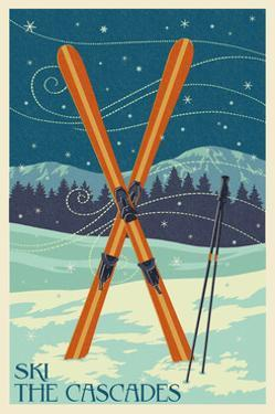 Ski the Cascades, Washington - Skis by Lantern Press