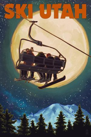 Ski Utah - Ski Lift and Full Moon by Lantern Press