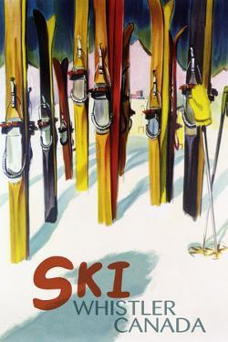 Ski Whistler, Canada - Colorful Skis by Lantern Press