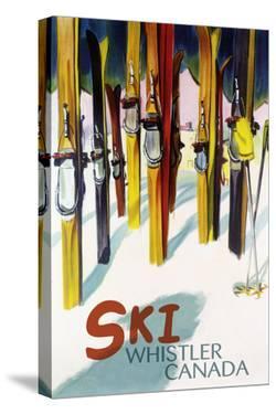Ski Whistler, Canada - Colorful Skis by Lantern Press