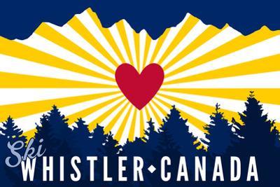 Ski Whistler, Canada - Heart and Treeline by Lantern Press