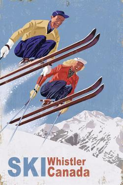Ski Whistler, Canada - Vintage Skiers by Lantern Press