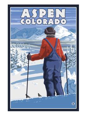 Skier Admiring - Aspen, Colorado by Lantern Press