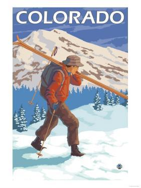 Skier Carrying Skis - Colorado by Lantern Press