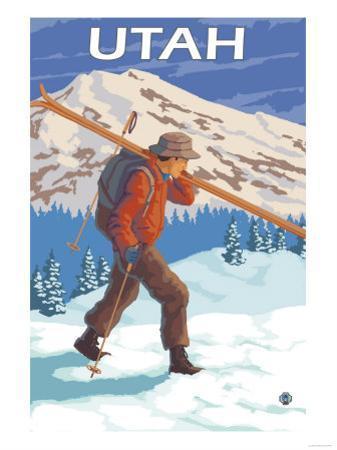 Skier Carrying Skis - Utah