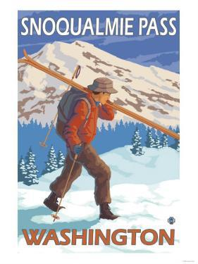 Skier Carrying Snow Skis, Snoqualmie Pass, Washington by Lantern Press