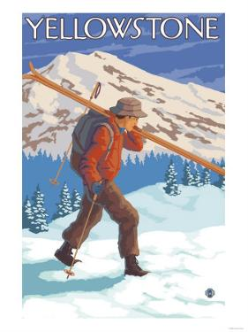 Skier Carrying Snow Skis, Yellowstone National Park by Lantern Press