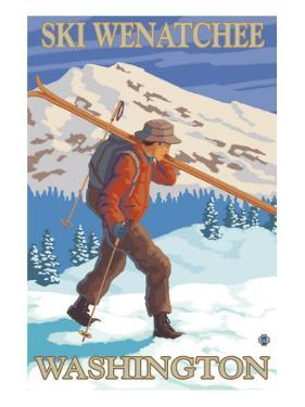 Skier Carrying - Wenatchee, WA by Lantern Press
