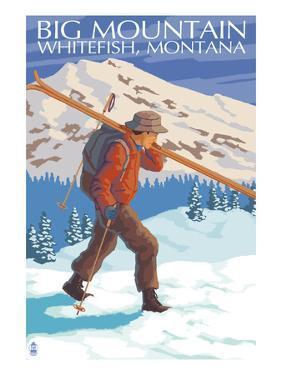 Skier Carrying - Whitefish, Montana - Snowboarder Jumping by Lantern Press