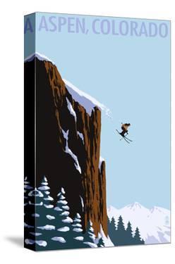 Skier Jumping - Aspen, Colorado by Lantern Press