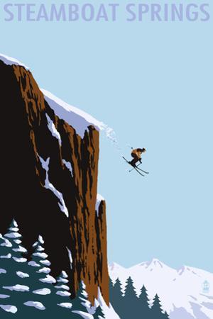 Skier Jumping - Steamboat Springs, Colorado by Lantern Press