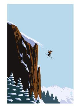 Skier Jumping by Lantern Press