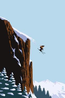 Skier Jumping by Lantern Press