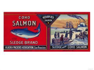 Sledge Salmon Can Label - San Francisco, CA by Lantern Press