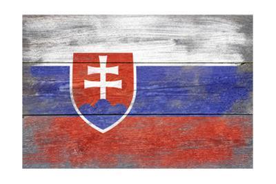 Slovakia Country Flag - Barnwood Painting by Lantern Press