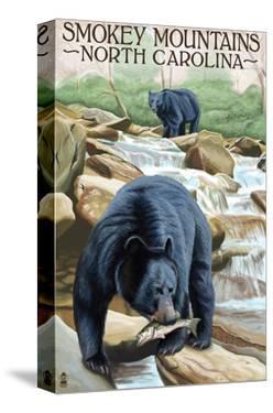 Smokey Mountains, North Carolina - Bears Fishing by Lantern Press