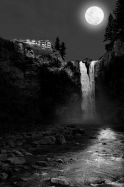 Snoqualmie Falls, Washington, View of the Falls at Night by Lantern Press