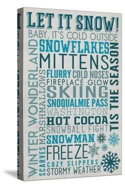 Snoqualmie Pass, Washington - Let it Snow - Holiday Typography by Lantern Press
