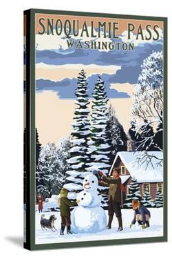 Snoqualmie Pass, Washington - Snowman Scene by Lantern Press