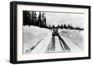 Snoqualmie Pass, Washington, View of Model-T Braving a Snowy Snoqualmie Pass by Lantern Press