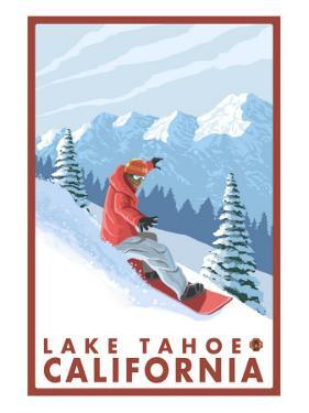 Snowboarder Scene, Lake Tahoe, California by Lantern Press