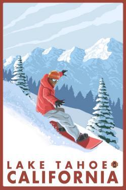 Snowboarder Scene, Lake Tahoe, California by Lantern Press
