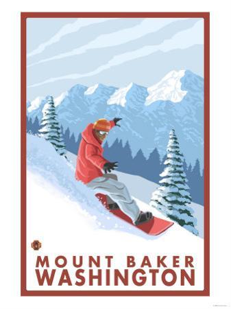 Snowboarder Scene, Mount Baker, Washington by Lantern Press