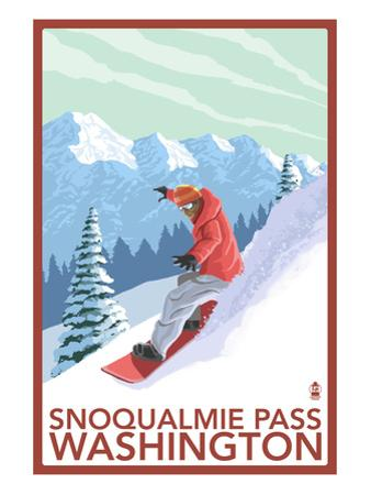 Snowboarder Scene - Snoqualmie Pass, Washington by Lantern Press