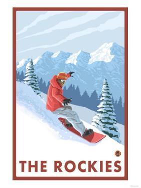 Snowboarder Scene, The Rockies by Lantern Press