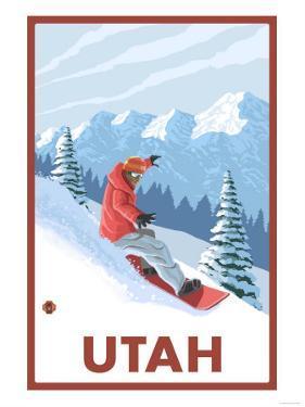 Snowboarder Scene - Utah by Lantern Press