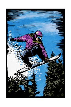 Snowboarder - Scratchboard by Lantern Press