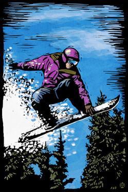 Snowboarder - Scratchboard by Lantern Press