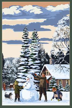 Snowman Scene by Lantern Press