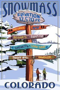 Snowmass, Colorado - Ski Signpost by Lantern Press