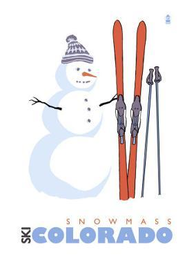 Snowmass, Colorado, Snowman with Skis by Lantern Press