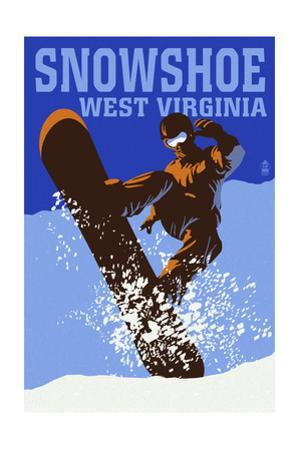 Snowshoe, West Virginia - Colorblock Snowboarder by Lantern Press