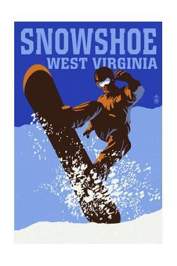 Snowshoe, West Virginia - Colorblock Snowboarder by Lantern Press