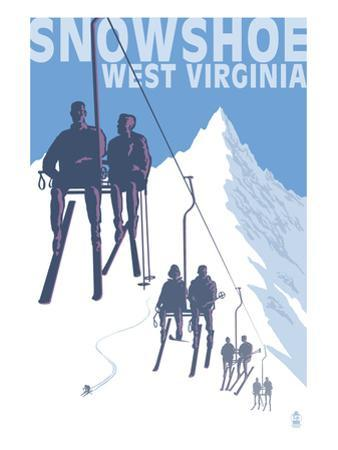 Snowshoe, West Virginia - Skiers on Lift by Lantern Press