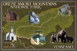 Soft Map - Great Smoky Mountains National Park, TN by Lantern Press