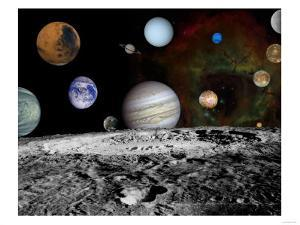 Solar System Montage of Voyager Images Photograph - Outer Space by Lantern Press