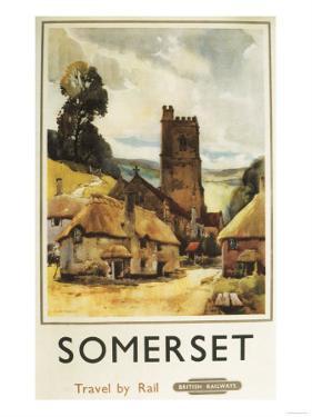 Somerset, England - Historic Village Scene British Railway Poster by Lantern Press