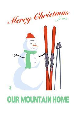 Sonora, California - Merry Christmas Snowman by Lantern Press