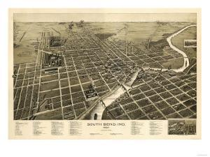South Bend, Indiana - Panoramic Map by Lantern Press