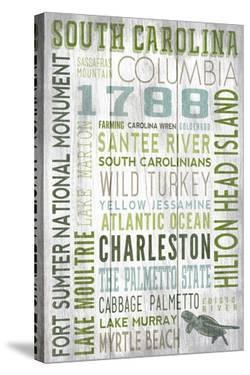 South Carolina - Barnwood Typography by Lantern Press