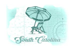 South Carolina - Beach Chair and Umbrella - Teal - Coastal Icon by Lantern Press