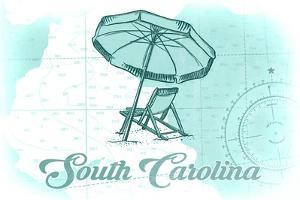 South Carolina - Beach Chair and Umbrella - Teal - Coastal Icon by Lantern Press