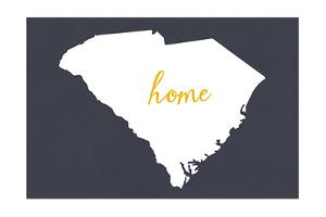 South Carolina - Home State - White on Gray by Lantern Press
