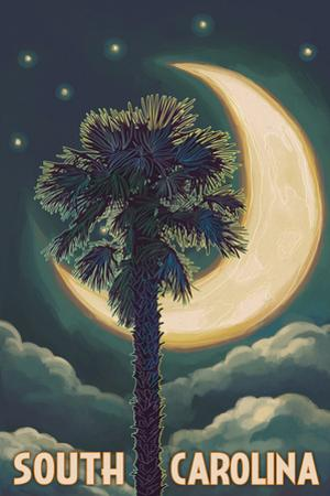 South Carolina - Palmetto Moon and Palm by Lantern Press